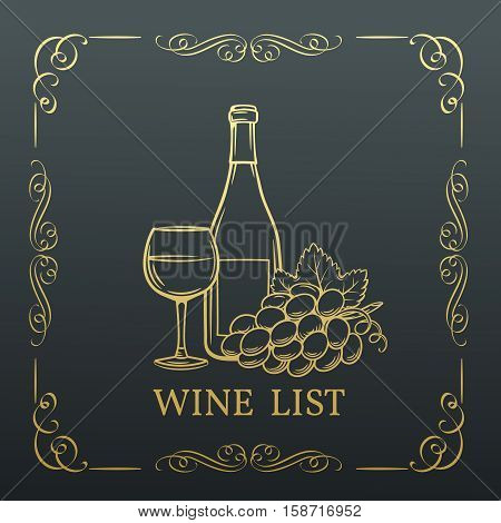 Decorative gold Banner Wine design . Vector wine list in old style, page decoration.