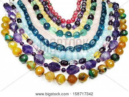 semigem colorful necklace with bright crystals jewellery
