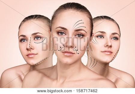 Three faces of young woman with lifting arrows over biege background