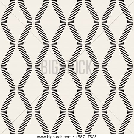 Vector Seamless Black and White Vertical Stripy Wavy Lines Pattern. Abstract Geometric Background Design.