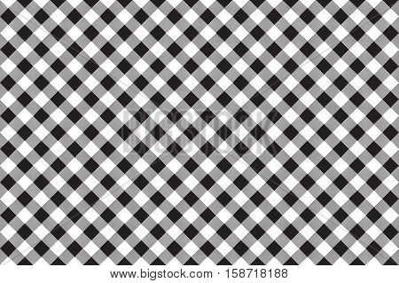 Black white checkerboard check diagonal seamless background. Vector illustration.