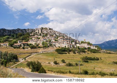 Small village on the hillside of The Verdon Gorge in south-eastern France Haut Provence