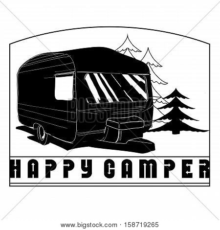 Vector illustration of Vintage Hand Drawn logos design, Camper trailer, car Recreation transport, Vehicles Camper Vans Caravans Lines Icons, badges, stamp, print, types, sign.