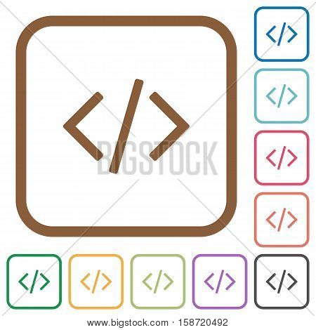 Programming code simple icons in color rounded square frames on white background