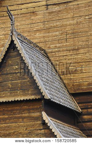 Lom medieval stave church detail. Viking symbol. Norway tourism highlight