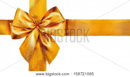 Gold satin gift bow. Ribbon Isolated on white background. Elegant Holiday Christmas golden silk ribbon