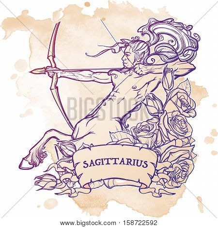 Sagittarius Zodiac sign with a decorative frame of roses Astrology concept art. Tattoo design. Gay Pinup style. Sketch isolated on white background. EPS10 vector illustration.