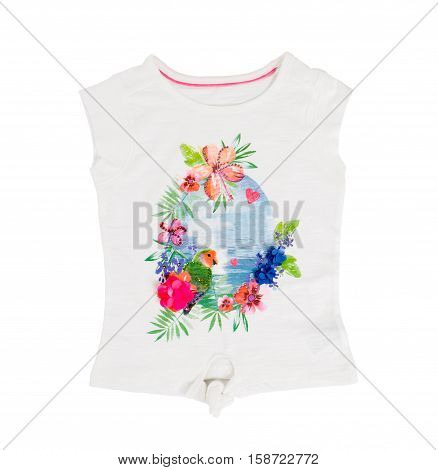 White cotton t-shirt with printed flowers and ocean. Isolated on a white background.