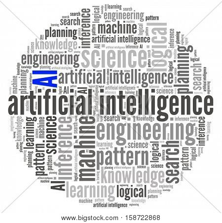 Artificial Intelligence in word collage