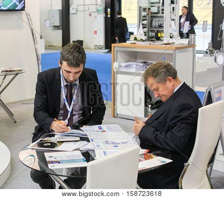 St. Petersburg, Russia - 5 October, Recreation area on the forum, 5 October, 2016. Petersburg Gas Forum which takes place in Expoforum.