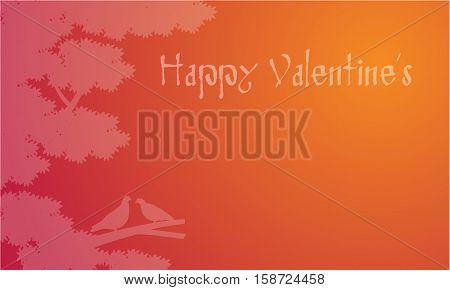 Dove on tree Valentines backgroudns vector illustration