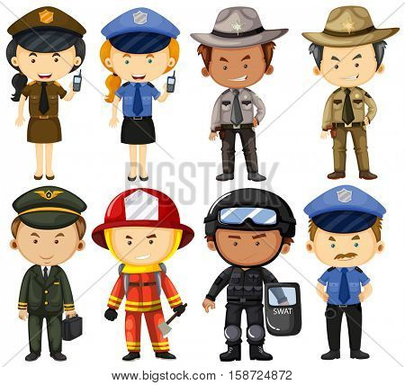 People in different job uniforms illustration