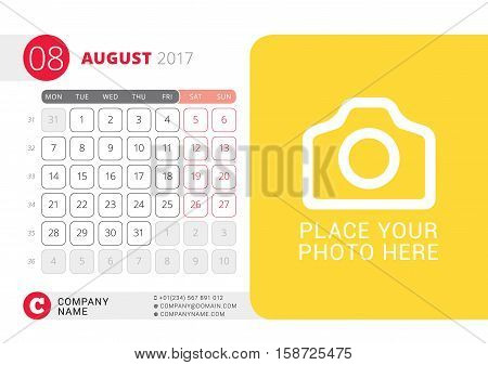 Desk Calendar For 2017 Year. August. Vector Design Print Template With Place For Photo. Week Starts