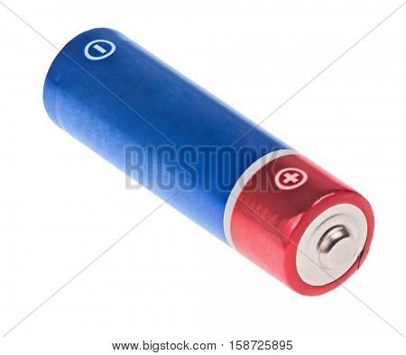 red and blue battery isolated on white background