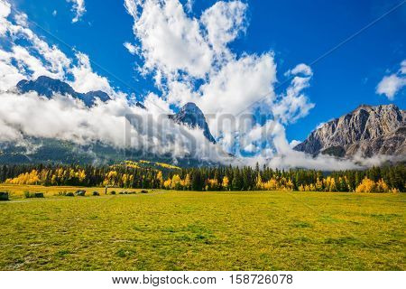 Shining sunny day in Canmore. Concept of hiking. The