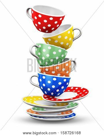 3D render illustration of the flying pile from color porcelain coffee cups or china drink mugs with colorful polka dot ornament and saucers isolated on white background