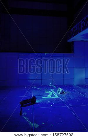 Bathroom as a place of criminal case under UV light