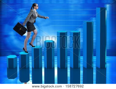 Businesswoman climbing career ladder as trader broker