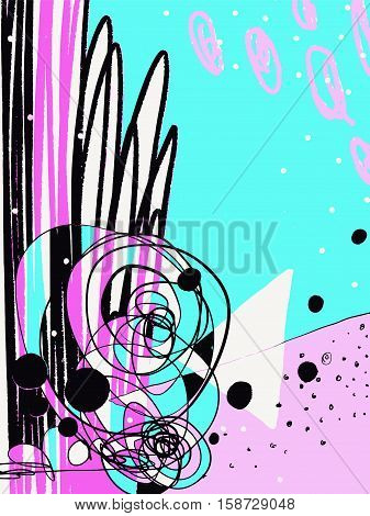 original modern abstract digital contemporary painting in trendy hipster style to poster, greeting card design, printable wall art, home decor,  flyer, brochure, sticker, book, vector illustration