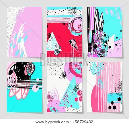 set of 6 modern abstract digital contemporary painting A4 format in trendy hipster style to poster, greeting card design, printable wall art, home decor, flyer, brochure, sticker, vector illustration