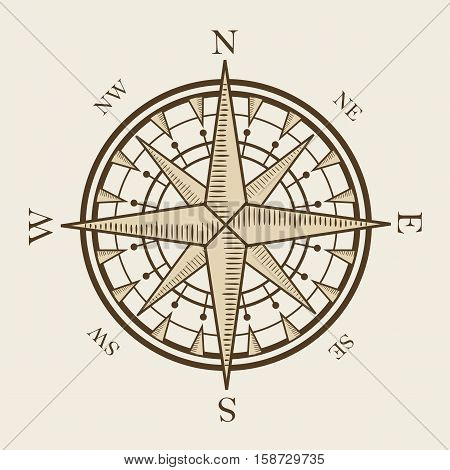 isolated nautical compass equipment in vector format