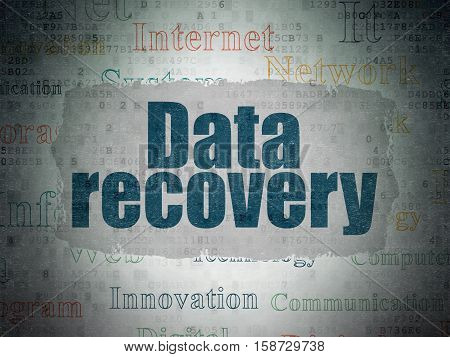Data concept: Painted blue text Data Recovery on Digital Data Paper background with   Tag Cloud