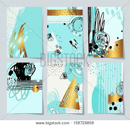 set of 6 modern abstract digital painting A4 format in trendy hipster style with gold to poster, greeting card design, printable wall art, home decor, flyer, brochure, sticker, vector illustration