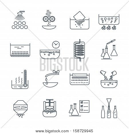 set of thin line icons manufacture of beverages production process