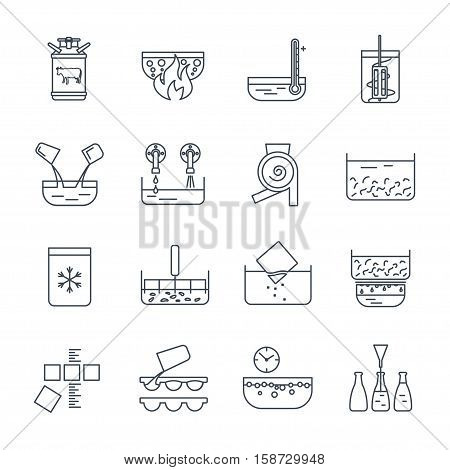 set of thin line icons manufacture of dairy products production process