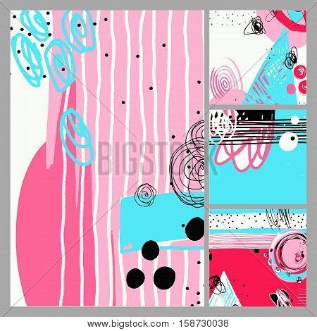 set of modern abstract digital contemporary painting in trendy hipster style to poster, greeting card design, printable wall art, home decor, flyer, brochure, sticker, vector illustration
