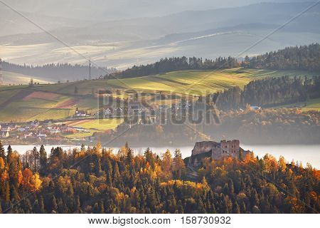 Poland autumn hills. Sunny October day in Malopolska mountain village. Fall in Poland poster