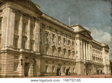 Vintage image of Buckingham Palace in London, UK