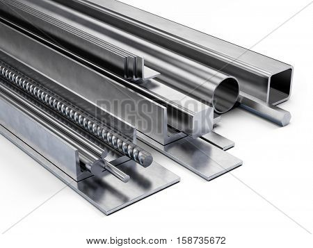 Rolled metal, assortment of the different form from metal isolated on white. 3d illustration