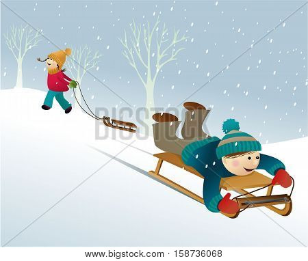 Winter background with playing kids - vector illustration