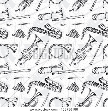 Black and White Seamless Pattern With Wind Musical Instruments