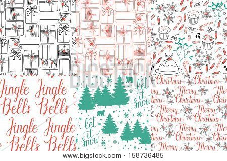 Winter Holiday seamless pattern with Jingel Bells Merry Christmas Let it snow hand lettering and gifts bears trees snowflakes mistletoe cakes pie. Vector background for christmas packaging.