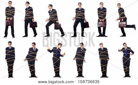 Businessman roped isolated on white background