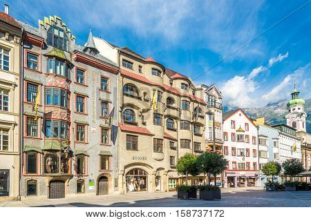 INNSBRUCK,AUSTRIA - SEPTEMBER 4,2016 - View at the Town square of Innsbruck. Innsbruck is the capital city of Tyrol in western Austria. It is located in the Inn valley.