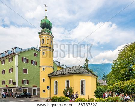 LIENZ,AUSTRIA - SEPTEMBER 15,2016 - View at the church of Saint Antonius in Tyrol city Lienz. Lienz is a medieval town in the Austrian state of Tyrol.