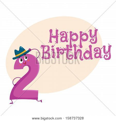 Happy birthday vector greeting card, poster, banner design with cute and funny two number characters. two smiling characters, happy birthday greeting card template