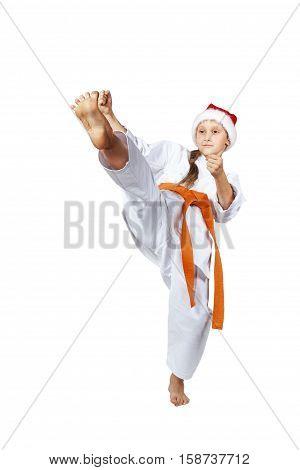 High kick forward is beating karateka in karategi