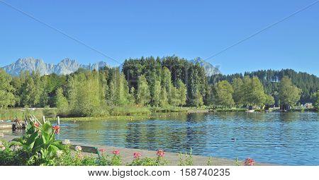 at Lake Schwarzsee in Kitzbuehel in Tirol,Alps,Austria