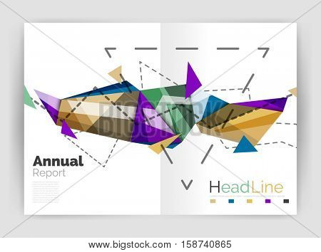 Triangles and lines, annual report flyer brochure template. illustration