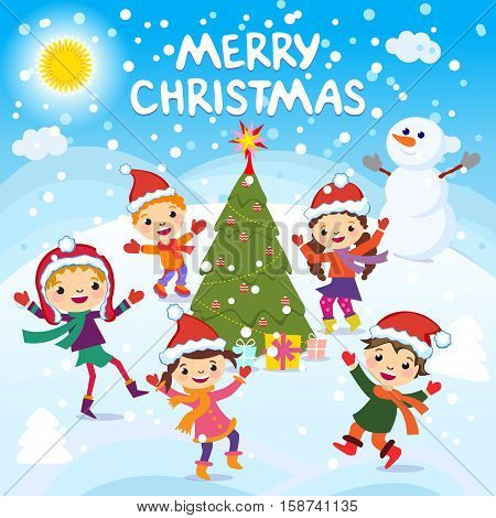 Merry Christmas. 2017. Winter Fun. Cheerful Kids Playing In The Snow. Stock Vector Illustration Of A