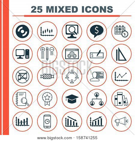 Set Of 25 Universal Editable Icons. Can Be Used For Web, Mobile And App Design. Includes Icons Such As Present Badge, Stock Market, Blank Cd And More.