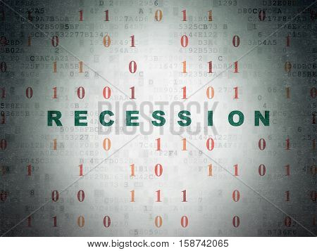 Finance concept: Painted green text Recession on Digital Data Paper background with Binary Code