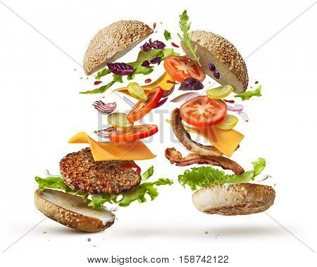 burger with flying ingredients