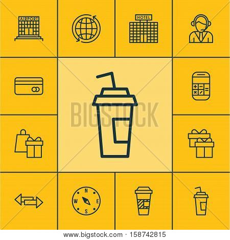 Set Of Airport Icons On Takeaway Coffee, Calculation And Airport Construction Topics. Editable Vector Illustration. Includes Takeaway, Center, Locate And More Vector Icons.
