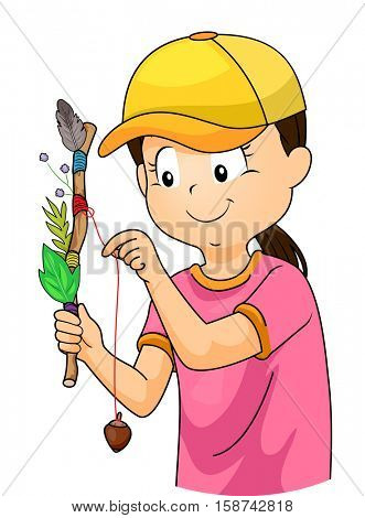 Illustration of a Girl in a Baseball Cap Adding Souvenirs on her Journey Stick