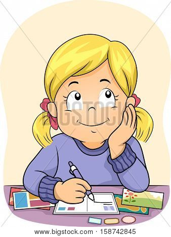 Illustration of a Cute Little Girl Daydreaming While Writing on Postcards